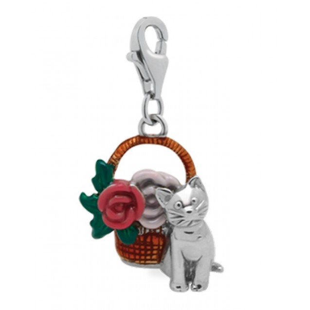 Pendant Cat with Flowers